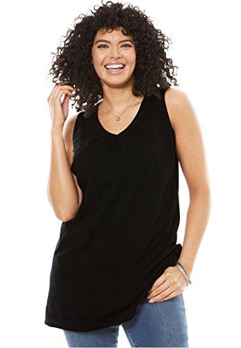 Women's Plus Size Sleeveless Perfect Tunic Black,2X