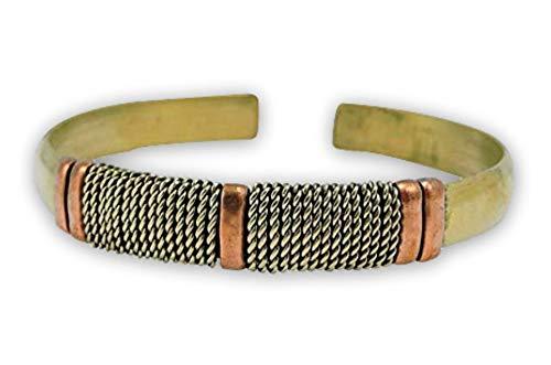 (Handmade Tibetan Three Metal Medicine/Healing Bracelet from Nepal Adjustable )