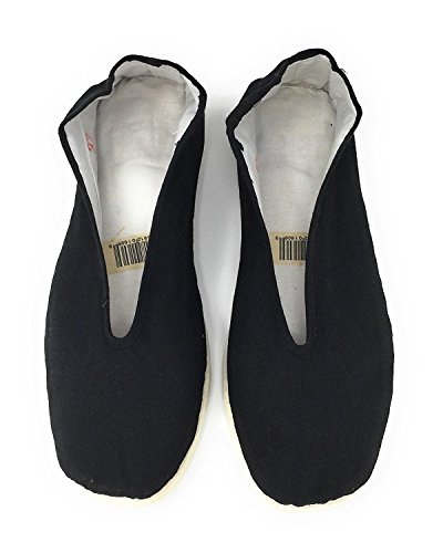 Men's Kung Fu Shoes - Black Slip on Tai Chi Shoe with White Cotton Sole
