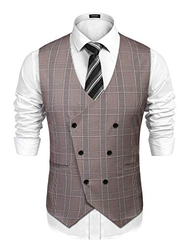 (COOFANDY Men's Slim Fit Sleeveless Suit Vest Double Breasted Business Dress Waistcoat, Light Coffe,)