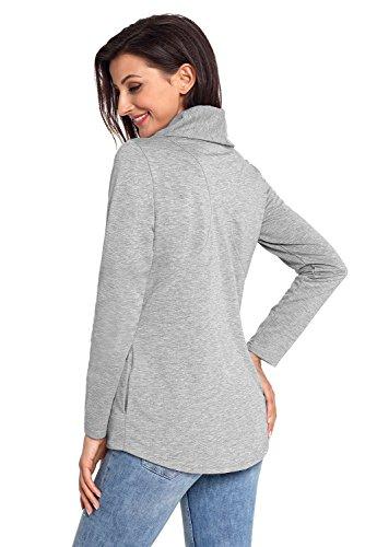 Chic gris mujer Casual para BaronHong lateral cremallera con Chaqueta R8FdqzR
