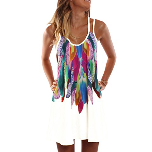 YXTech Women Summer Sleeveless Strappy colorful Print Casual Beach Dress Five Size (White, M)