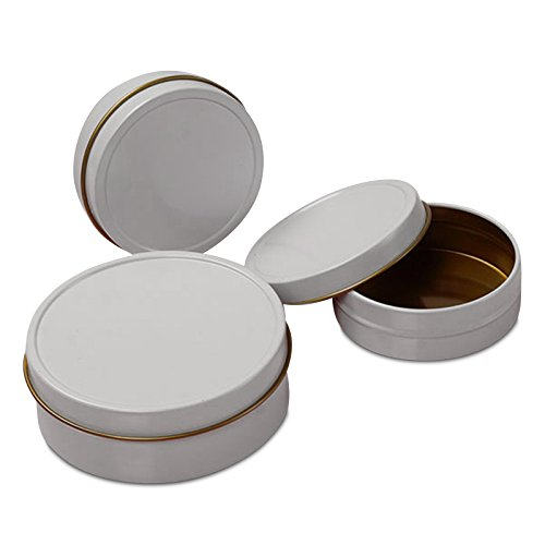 (24ea - 2 Oz White Shallow Round Tin Can-Pkg)