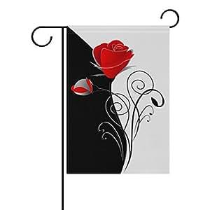 U LIFE Vintage Floral Red Flowers Rose Black White Garden Yard Flag Banner for Outside House Flower Pot Double Side Print 12 x 18 Inch