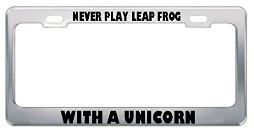 Moon Never Play LEAP Frog with A Unicorn Success License Plate Frame Tag Holder Perfect for Men Women Car garadge Decor