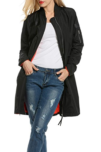 Dickin Womens Classic Zip Up Windbreaker Quilted Long Flight Bomber Jacket Trench Coat (Jacket Women Long Bomber)