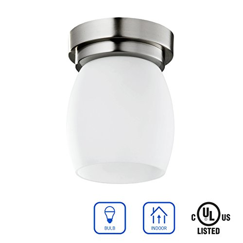 IN HOME 1-light FLUSH MOUNT Ceiling Light FM37, Brushed Nickel Finish with Satin Etched Glass Shade, UL listed - Brushed Nickel Finish Plug