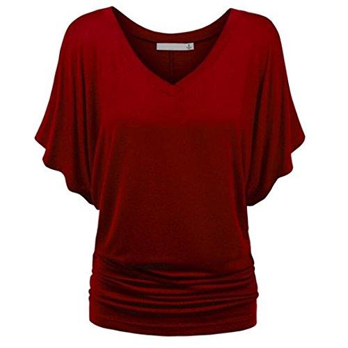 Plus Vin Chemise Femme Blouse Soiree Couleur Challeng Noir La Casual V Shirt Taille Deep Casual Chic Pure Neck Hawaienne Femmes T Rouge Top UfqwgnSwx