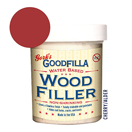 Water-Based Wood & Grain Filler - Cherry/Alder - 8 oz By Goodfilla | Replace Every Filler & Putty | Repairs, Finishes & Patches | Paintable, Stainable, Sandable & Quick Drying