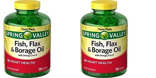 Spring Valley Fish, Flax & Borage Oil Dietary Supplement Softgels, 120 Count (Pack of 2) Fish Flax Seed Borage Oil