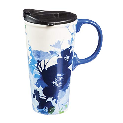Bella Blue 17 OZ Ceramic Coffee Cup - 4 x 5 x 6 Inches
