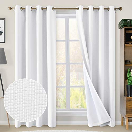 HOMEIDEAS White 100 Blackout Curtains 52 x 96 Inches Long Faux Linen Textured Curtains Drapes