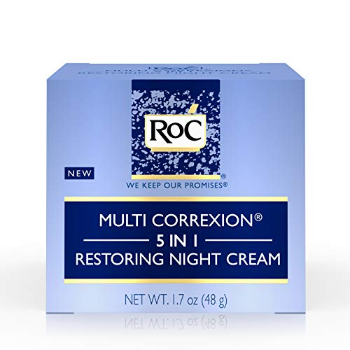 RoC Multi Correxion 5 in 1 Restoring Anti-Aging Facial Night Cream, Wrinkle Treatment for Face & Neck Made with Hexinol Technology, 1.7 oz