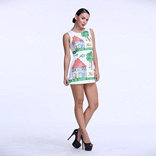 Longra ♥♥La Sra vestido sin mangas de impresión sencilla de moda 2017 Verde