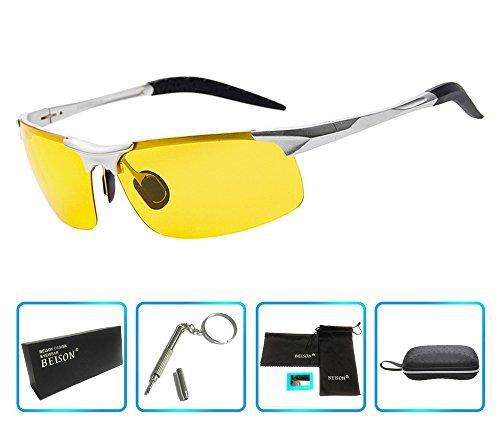Beison HD Night Vision Goggles Driving Glasses Polarized Sunglasses Anti-Glare (Silver, Night Vision - Polarised Night Driving Glasses For