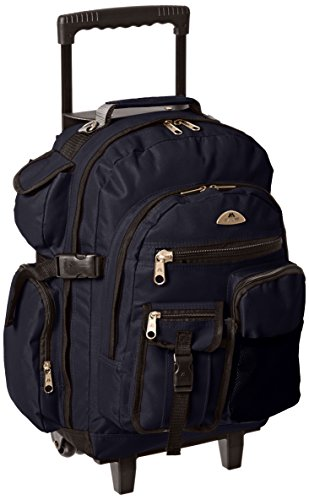 Everest Deluxe Wheeled Backpack, Navy, One Size (Second Highest Mountain Peak In The World)