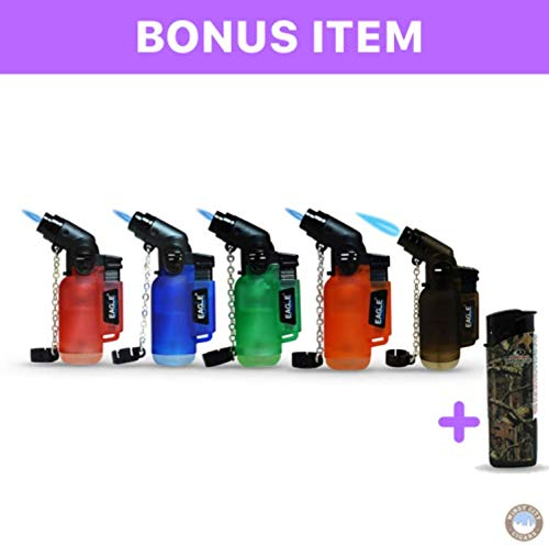 5Pack Angle Eagle Jet Flame Butane Torch Lighter Refillable Windproof+FREE Colibri butane (Best Pocket Torch Lighter)