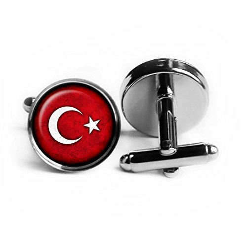 Turkey Turkish Flag Rhodium Plated Silver Cufflinks by Elysian Workshop
