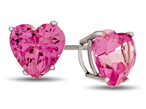 Finejewelers 7x7mm Heart-Shaped Created Pink Sapphire Post-With-Friction-Back Stud Earrings 14k White Gold
