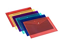 Lightahead LA-7550 Clear document folder with snap button,Premium Quality Poly Envelope, US LETTER / A4 size, Set of 12 in 6 assorted Colors, Blue, Green, Orange, Yellow, Purple, Maroon