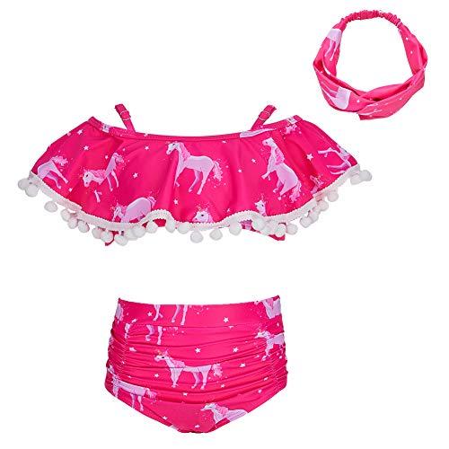 MHJY Girl Swimsuit 2-Piece Swimwear Tankini Bikini Set Unicorn Tassel Pompoms Beachwear Bathing Suits 2-8Years]()