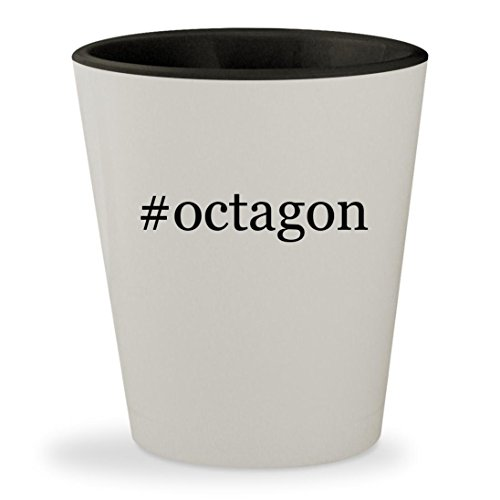 #octagon - Hashtag White Outer & Black Inner Ceramic 1.5oz Shot Glass (Table Grill Octagon)