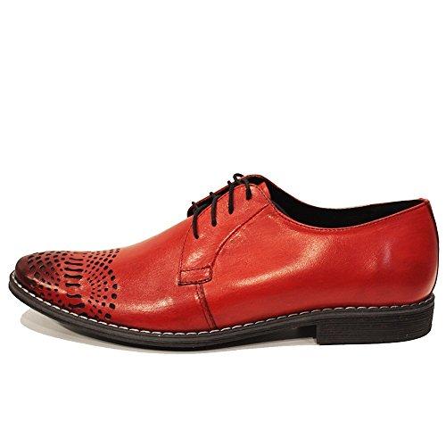 Modello Redatto - Cuero Italiano Hecho A Mano Hombre Piel Rojo Zapatos Vestir Oxfords - Cuero Cuero pintado a mano - Encaje