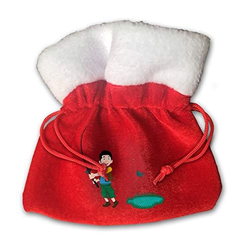 NRIEG Little Child Fishing Christmas Candy Bags Santa Claus Gift Treat Sacks with Drawstring Xmas Stocking Ornaments Decor Handbag