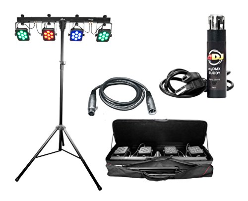 Chauvet 4Bar Tri USB 4x RGB Wash Light Pack w/Tripod + My DMX Buddy + 25' Cable by Chauvet