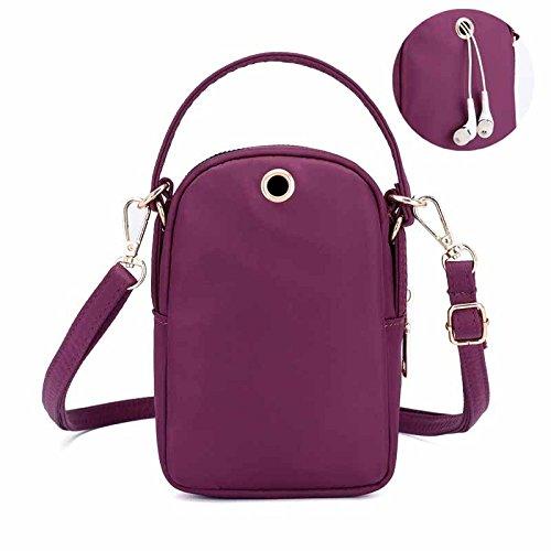 Bolso Impermeable De La Lona Del Bolso De Hombro De Las Mujeres Del Bolso Ligero Mini De La Manera De Las Señoras Purple