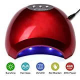 NATPLUS Red Nail Dryer Lamp 48W UV LED Nail Curing Lamp Light for Soak Off Nail Gel Lamp Manicure Pedicure Dryer with Sensor High Speed