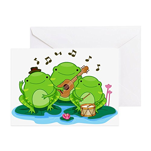 CafePress - Performing Frogs - Greeting Card, Note Card, Birthday Card, Blank Inside Glossy Christmas Musical Notes Clip Art