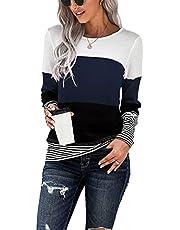 KINGFEN Womens Color Block Crewneck Tunic Tops Casual Long Sleeve Loose Striped Shirt Blouses