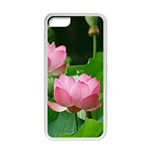 glam pink lotus and green leaves personalized creative custom protective phone case for Iphone 5C