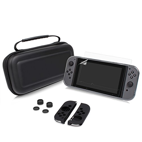 XGUO 5 In 1 Nintendo Switch Carrying Case With 10 Game Card Holders, NS TPU Cover Skin, Joy-Con Silicone Cover, Switch HD Screen - 10 Ns