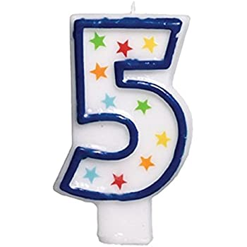 Star Studded Flat Molded Number 5 Celebration Candle, White , 3.5