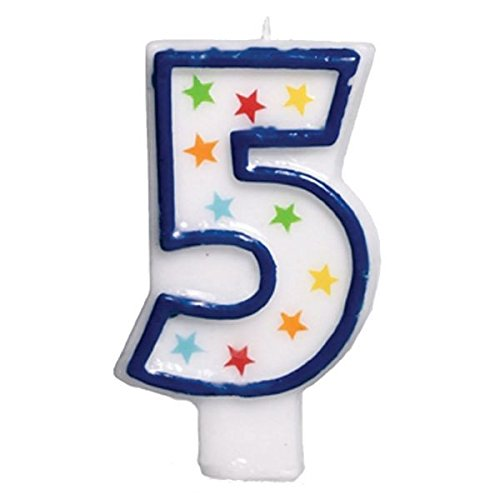 (amscan Colorful #5 Birthday Star Flat Molded Candle Party Supplies, White, 3 1/2