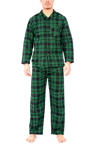 Wanted Men's Lightweight Cotton Flannel Long Sleeve Top and Pant Pajama Set (Seersucker Wide Leg Pants)