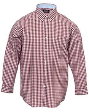 Men's Red Window Pane Button Down Shirt