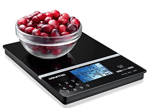 Counter Scale (Gourmia GKS9190 Nutrition Scale Tempered Glass Kitchen Scale with Calorie Counter & Digital Touchscreen Display 5kg [11lb] Capacity Measures 22.4 x 15)