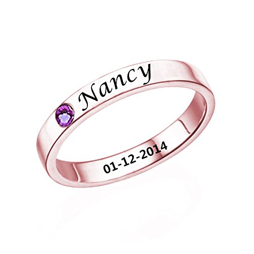 Birthstone Rose (Ouslier 925 Sterling Silver Personalized Birthstone Promise Ring with Name Custom Made with Name & Date (Rose Gold))