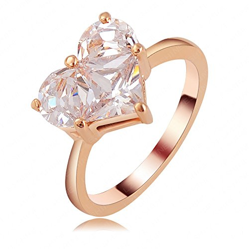 n Jewelry Hot Sale Rose Gold Austrian Crystal Heart-shaped Diamond Zircon Ring (Hot Fashion Rings)