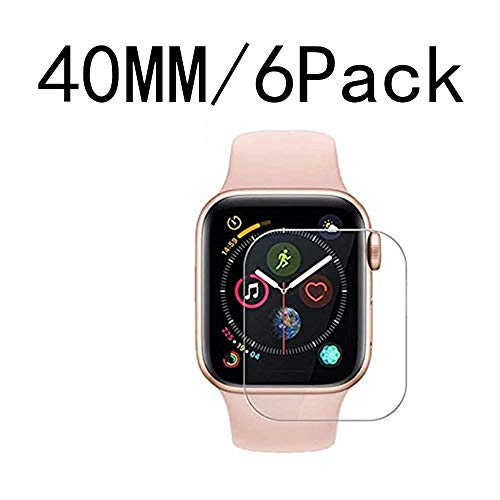 [6 Pack] Apple Watch Screen Protector 40MM PET, EcoPestuGo HD Screen Protector Anti-Bubble Scratch-Resistant Guard Cover 3D Hydrogel Protective Soft Film Apple Watch Series 4 40mm PET