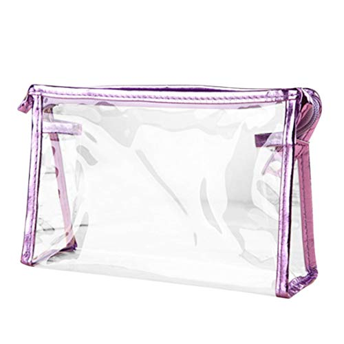 - Creazy Zipper Purse Bag, Clear Transparent Plastic PVC Travel Cosmetic Make Up Toiletry Bag (Purple)