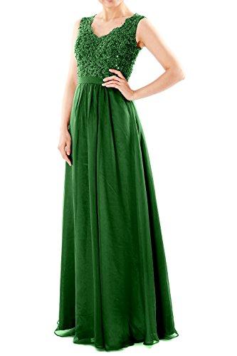 V Evening Prom Long MACloth Gown Dunkelgrun Women Chiffon Dresses Formal Party Lace Neck qYnvfvFU