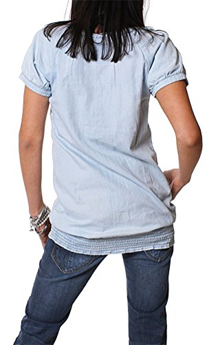 M.O.D by Monopol Damen rundhals Shirt denim bleached hellblau, Grösse:S