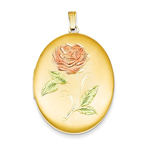 14k Yellow Gold Plated 34mm Enameled Flower Oval Locket Pendant (Gold Plated Oval Locket)