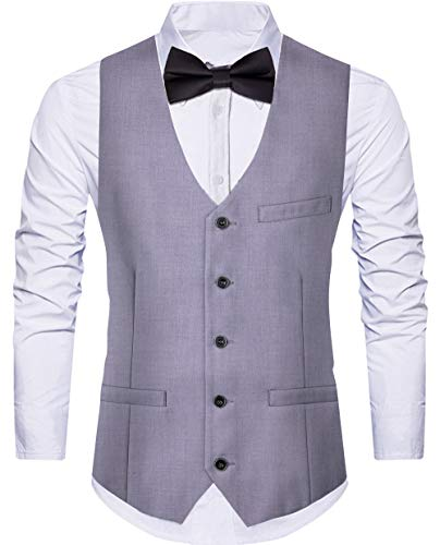 Cyparissus Men's Suit Vest Business Formal Dress Waistcoat Vest with Pockets for Suit or Tuxedo (XX-Large, -