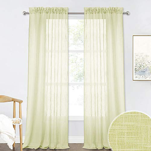 RYB HOME Semi Voile Curtains for Bedroom, Privacy Drapes for Living Room, Soft Fabric Window Panels, Summer Sheer for Home Decoration, Pale Yellow, Width 52 in x Long 95 in per Panel, 2 Pcs (Drapes Curtains Yellow Pale And)