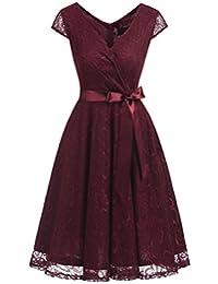 Dresstells Short V Neck Bridesmaid Ruched Dress Lace Cocktail Dresses with Belt